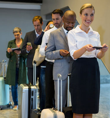 travellers in line for boarding